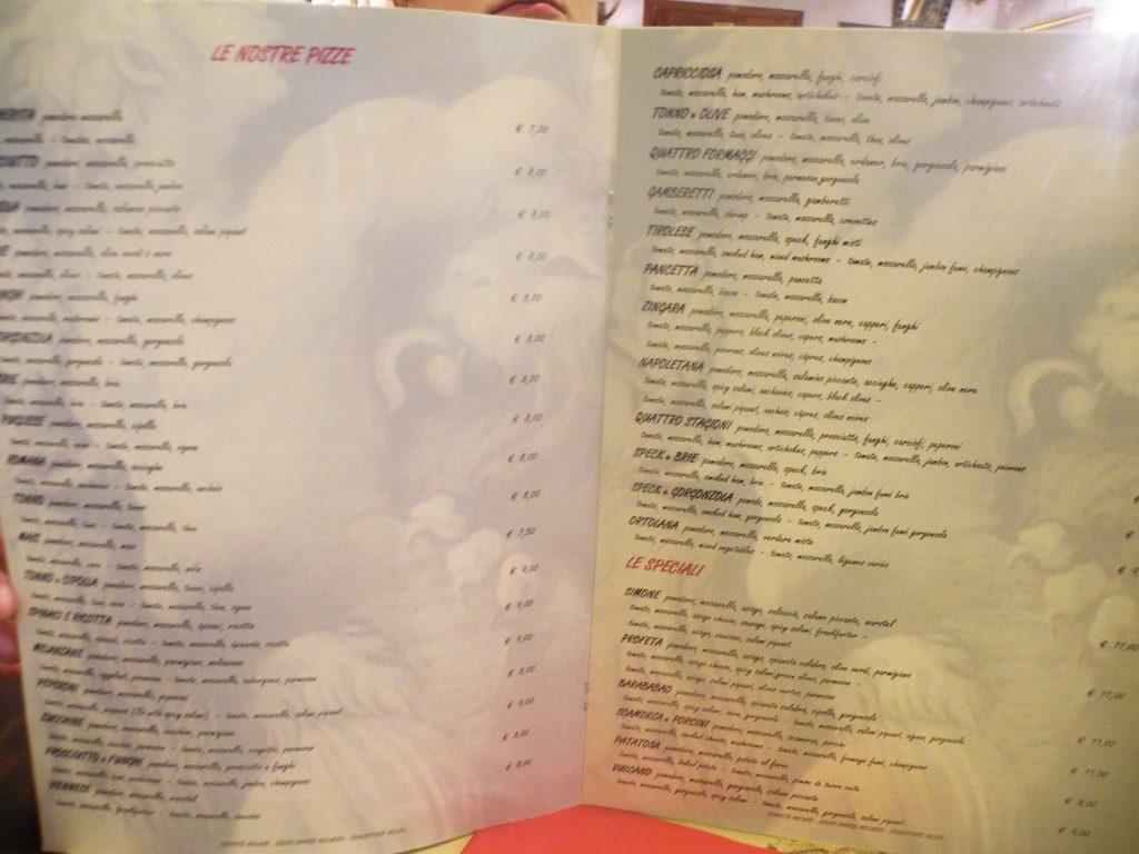 la première page d'une carte de pizzas